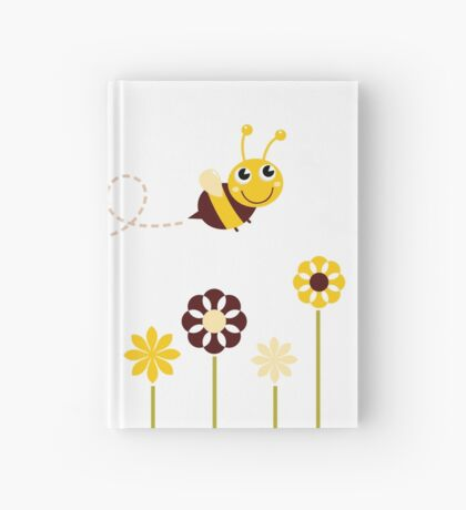 Adorable spring Bee flying around flowers Hardcover Journal