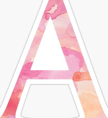 Alpha Pink Watercolor Letter Sticker