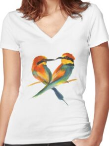 Lover Birds Women's Fitted V-Neck T-Shirt