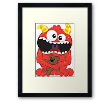 Monster and His Teddy Framed Print