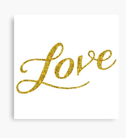 Love Gold Faux Foil Metallic Glitter Quote Isolated on White Background Canvas Print