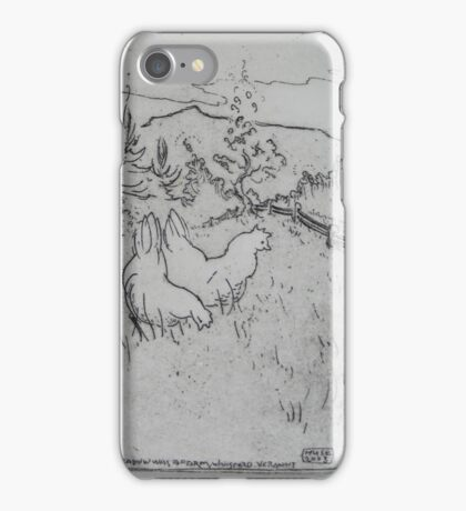High on the meadow there was a farm, and life for chickens there was swell iPhone Case/Skin