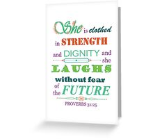Proverbs 31:25 Scripture Quote Download Print Greeting Card