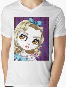 Alice and the White Rabbit Mens V-Neck T-Shirt