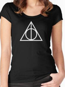 Deathy Hallows pattern Women's Fitted Scoop T-Shirt