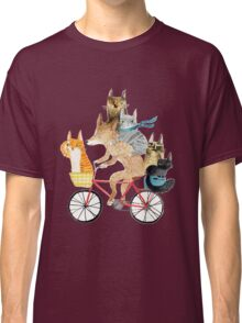 Dog and cats cycling Classic T-Shirt