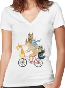 Dog and cats cycling Women's Fitted V-Neck T-Shirt