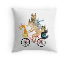 Dog and cats cycling Throw Pillow