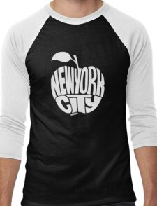 NYC Big Apple (White) Men's Baseball ¾ T-Shirt