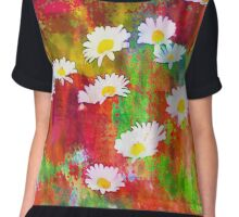 Daisies in an Abstract Red Field Women's Chiffon Top