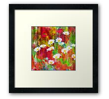Daisies in an Abstract Red Field Framed Print
