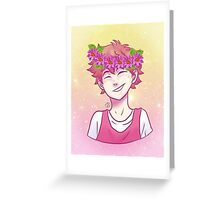 Pastel Hinata with Flower Crown Greeting Card