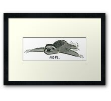Nope Sloth Framed Print