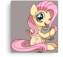 fluttershy and pusheen  Canvas Print