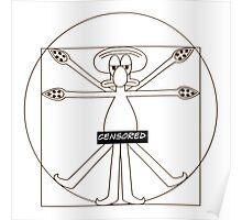 Funny Da Vinci Viturvian Animation Cartoon Poster