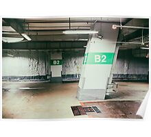 Parking garage underground, industrial interior Poster