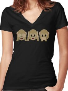 Three Wise Monkeys Women's Fitted V-Neck T-Shirt