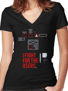 I fight for the users Women's Fitted V-Neck T-Shirt