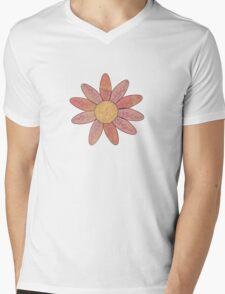 Pink Daisy Mens V-Neck T-Shirt