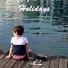 Happy Summer Holidays, little boy on the Pier. by Mary Taylor