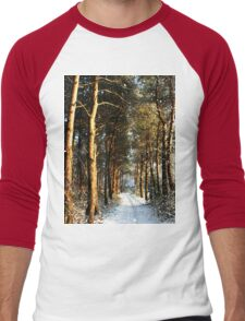 Forest Snow Scene Men's Baseball ¾ T-Shirt