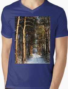 Forest Snow Scene Mens V-Neck T-Shirt