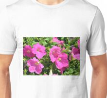Pink flowers natural background. Unisex T-Shirt