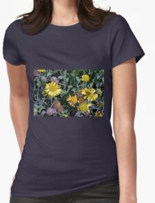 Yellow flowers in the garden. Womens T-Shirt