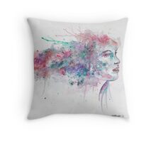 Watercolour girl 2 Throw Pillow