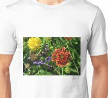 Beautiful colorful flowers in the garden. Unisex T-Shirt