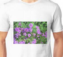 Purple flowers and green leaves bush. Unisex T-Shirt