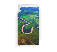 Flying over the river Duvet Cover