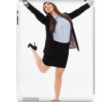 Successful businesswoman with arms raised iPad Case/Skin