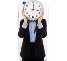 Businesswoman covering her face with a clock iPhone Case/Skin