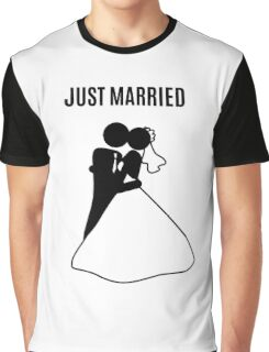 Just  Married Print Stick Figure Graphic T-Shirt