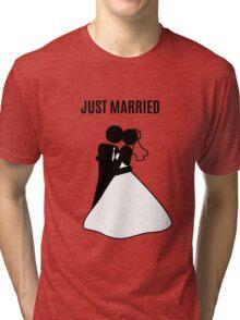 Just  Married Print Stick Figure Tri-blend T-Shirt