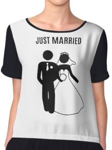 Just  Married Print Stick Figure Chiffon Top