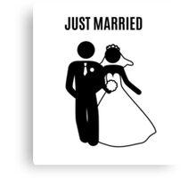 Just  Married Print Stick Figure Canvas Print