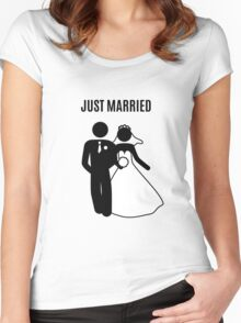 Just  Married Print Stick Figure Women's Fitted Scoop T-Shirt