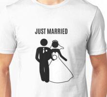 Just  Married Print Stick Figure Unisex T-Shirt