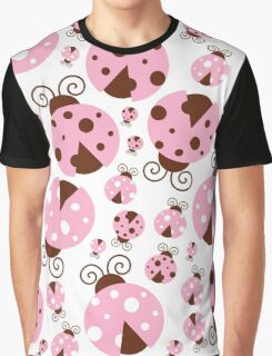 Ladybugs (Ladybirds, Lady Beetles) - Pink Brown Graphic T-Shirt