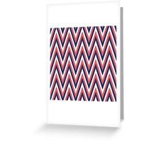 Retro Orange Blue White Zig Zag Stripe Pattern Greeting Card