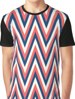 Retro Orange Blue White Zig Zag Stripe Pattern Graphic T-Shirt