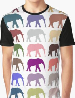 Colorful Elephants - Pink Purple Green Blue Graphic T-Shirt
