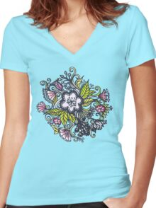 Primrose mint Women's Fitted V-Neck T-Shirt
