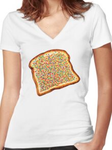 Fairy Bread Pattern Women's Fitted V-Neck T-Shirt