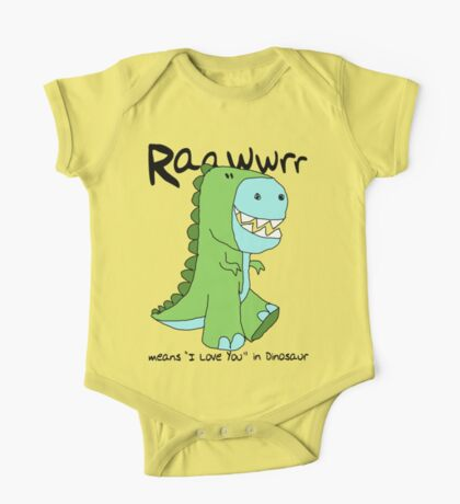 """Raawwrr means """"I Love You"""" in Dinosaur One Piece - Short Sleeve"""