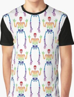 Spooky Rainbow Skeletons (white) Graphic T-Shirt