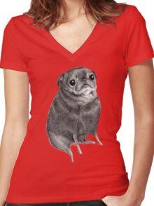 Sweet Black Pug Women's Fitted V-Neck T-Shirt