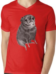 Sweet Black Pug Mens V-Neck T-Shirt